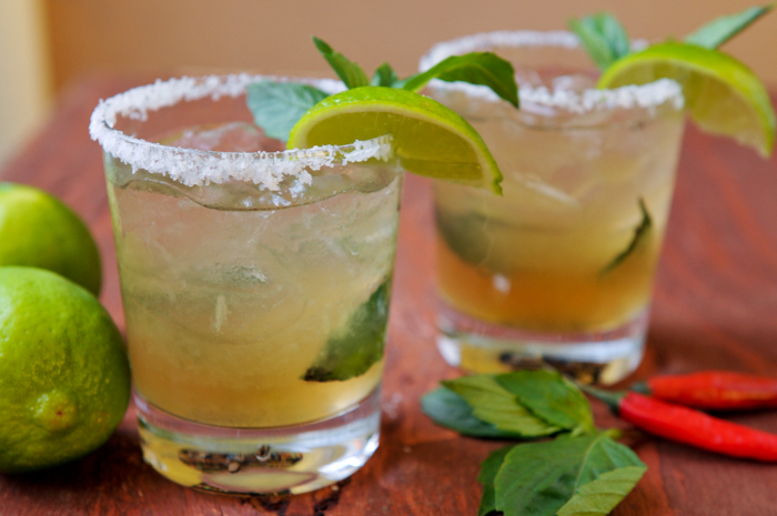 Thai-Inspired Basil Margarita with Spicy Thai Bitters