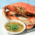 Steamed Crab with Seafood Dipping Sauce
