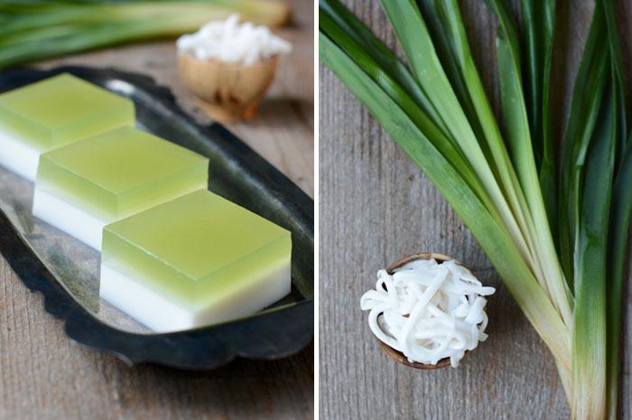 Coconut and Pandan Agar | Wun Gati Bai Tuey | วุ้นกะทิใบเตย